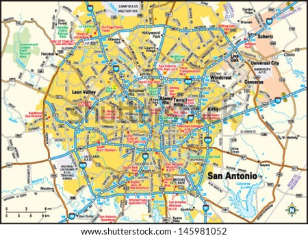 San Antonio Texas Area Map Stock Vector (Royalty Free) 145981052 ...