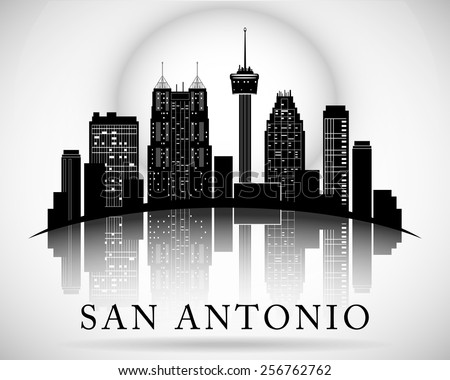 San Antonio Texas city skyline silhouette - stock vector