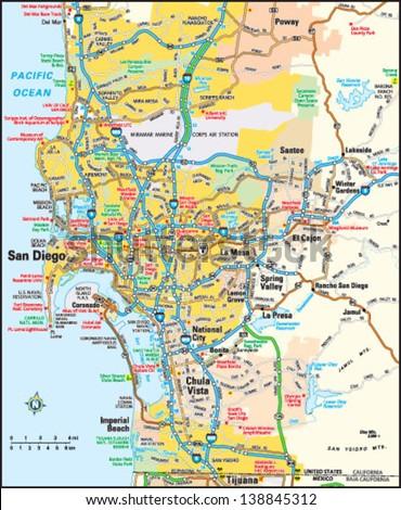 San Diego, California area map - stock vector