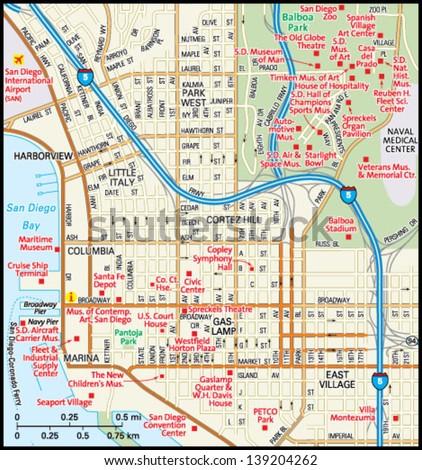 San Diego, California downtown map - stock vector