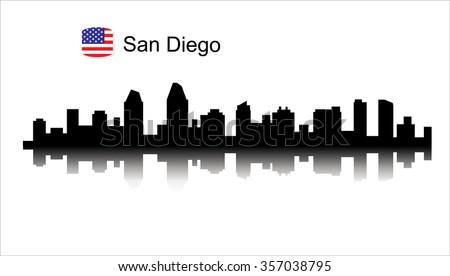 san diego california skyline detailed vector silhouette