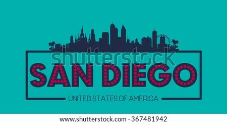 San Diego skyline silhouette poster vector design illustration - stock vector
