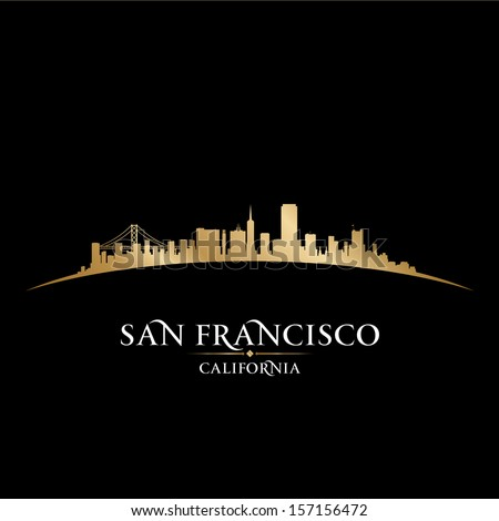 San Francisco California city skyline silhouette. Vector illustration - stock vector