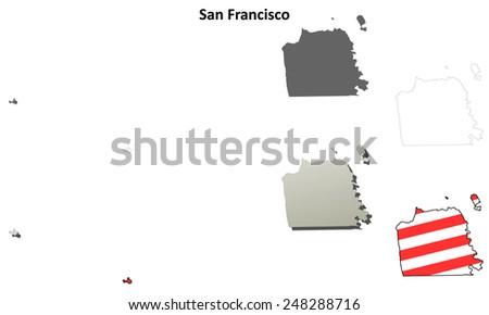San Francisco City and County (California) outline map set - stock vector