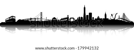 San Francisco City Skyline Black and white Silhouette vector artwork - stock vector