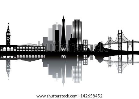 San Francisco skyline - black and white vector illustration - stock vector