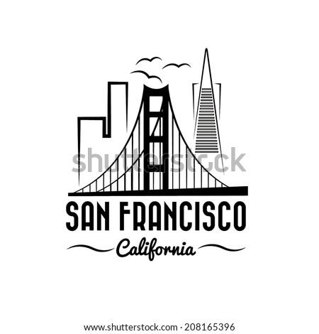 san francisco skyline illustration - stock vector