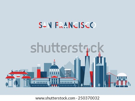 San Francisco (United States) city skyline vector background. Flat trendy illustration - stock vector