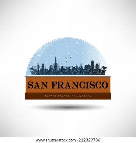 San Francisco, United States of America city skyline silhouette in snow globe. Vector design. - stock vector