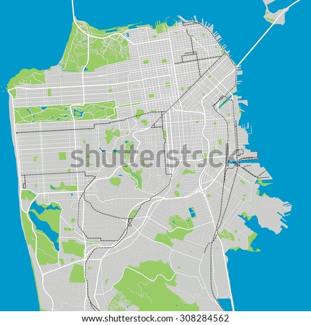 San Francisco vector map ultra detailed editable - stock vector