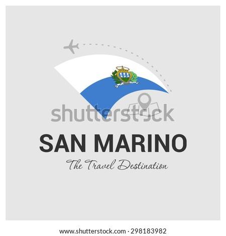 San Marino The Travel Destination logo - Vector travel company logo design - Country Flag Travel and Tourism concept t shirt graphics - vector illustration - stock vector