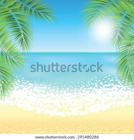Sand beach and the palm branches at sunset time. Vector illustration.  - stock vector
