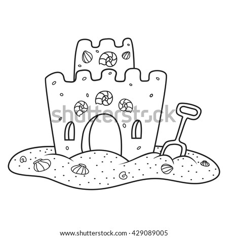 Sand Castle Coloring Book Vector Illustration Stock Vector 429089005 ...