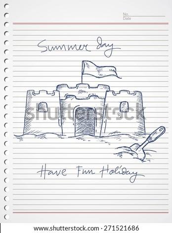 sand castle on paper, summer fun on the beach - stock vector