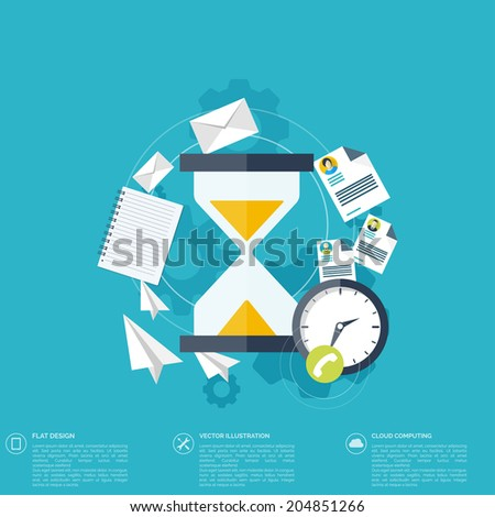 Sand clock flat icon. World time concept. Business background. Internet marketing. Daily infographic. - stock vector