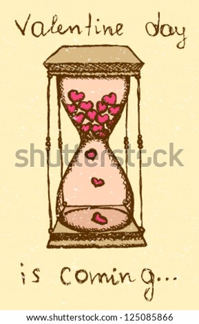 Sand clock with hearts inside in vintage style, vector illustration - stock vector