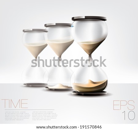 sand clocks in three stages. Time concept. Editable transparent vector graphic - stock vector