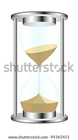 Sand-glass in metal design - stock vector