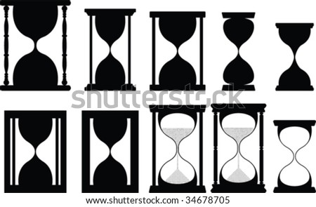 Sand glass vector collection - stock vector