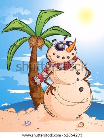 Sand Snowman Cartoon Character in Paradise - stock vector