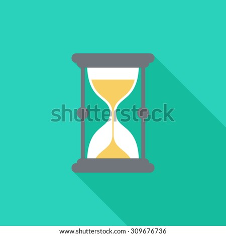 Sand watch icon with long shadow. Flat design style. Sand watch silhouette. Simple icon. Modern flat icon in stylish colors. Web site page and mobile app design element. - stock vector