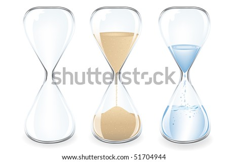 Sand, Water and Empty Clocks, Isolated On White - stock vector