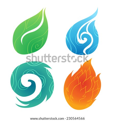 Sand Water Wind Fire - stock vector