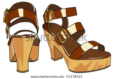 sandals in wood and leather - stock vector