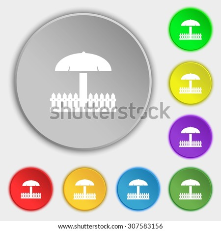 Sandbox icon sign. Symbols on eight flat buttons. Vector illustration - stock vector