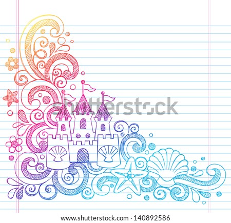 Sandcastle Tropical Beach Summer Vacation Sketchy Notebook Doodles- Hand Drawn  Illustration on Lined Sketchbook Paper Background - stock vector