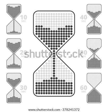 Sandglass time indicator. Vector infographic. Concept elements represent ten seconds interval hourglass icons.  - stock vector