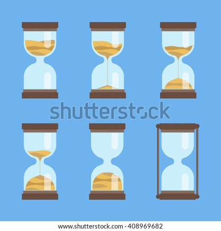 Sandglass vector icon set. Hourglass with sand. Time interval animation. Deadline vector sign.  - stock vector