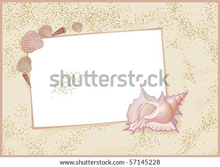 Sands, messages, shells and best from holidays - stock vector