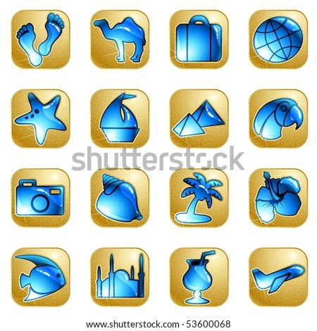 Sandstone vacation icons (eps10); jpg version also available - stock vector