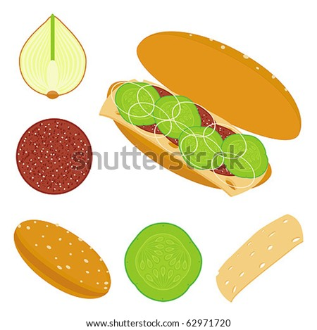 sandwich and ingredients of sandwich - stock vector