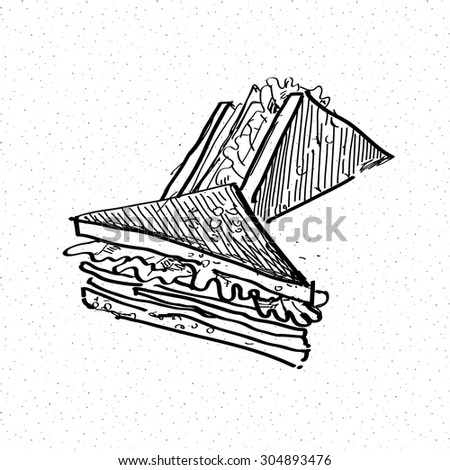 sandwich doodle hand drawn illustration in vector - stock vector