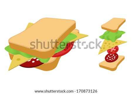 Sandwich with cheese sausage and vegetables. - stock vector