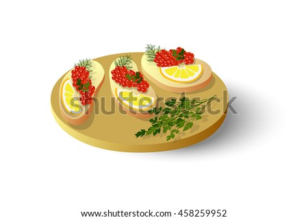sandwiches with salmon caviar, lemon and herbs, vector illustration - stock vector
