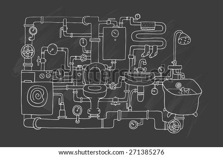 Sanitary engineering. Chalkboard. - stock vector