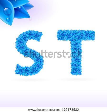 Sans serif font with blue leaf decoration on white background. S and T letters