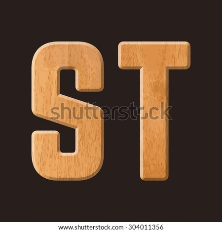 Sans serif geometric font with wood texture. Vector illustration