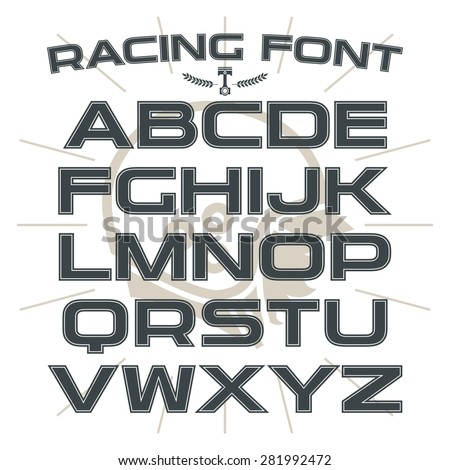 Sanserif font in retro racing style with contour. Black font on light background - stock vector