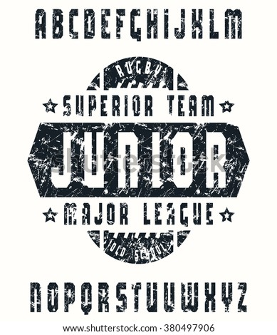 Sanserif  font in sport style with rugby emblem. Black print on white background