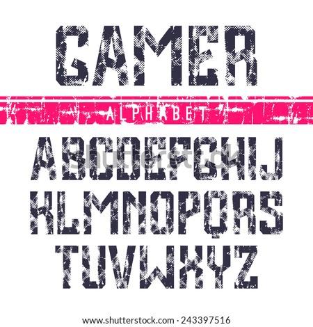 Sanserif font in the sport style. Dark font on white background - stock vector