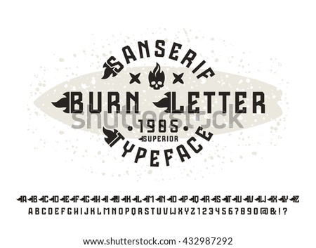 Sanserif font with flame initial letter. Typeface design for t-shirt. Black font on light background - stock vector