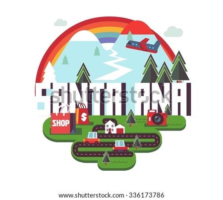 Santa Ana city travel destination in USA. vector cartoon, - stock vector