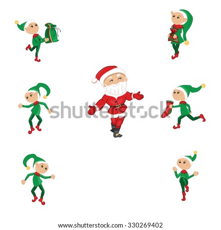 Santa and Christmas elfs on white - stock vector