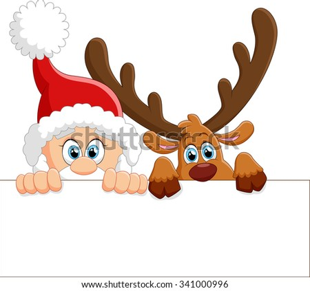 santa and deer holding blank sign - stock vector