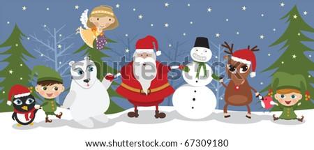 Santa and friends - stock vector