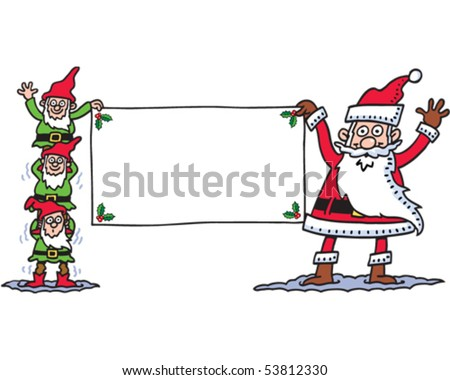 Santa and his helpers - stock vector